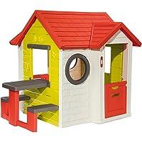 Smoby-810401 Mi Casa con Mesa Exterior, Color Verde/Gris/Rojo/Blanco