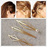 Minimalist Dainty Pearl Marquise Triangle Rhombus Infinity Gold Geometric Hairpin Hair Clip Clamps Accessories Barrettes Bobby Pin Statement Ornament Women's GIFT Headwear Headdress Styling Jewelry