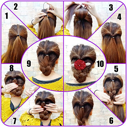 QY 14PCS Colorful Different Size Plastic Hair Braid Ponytail Makers Styling Loops Tool (Braid With Ponytail)