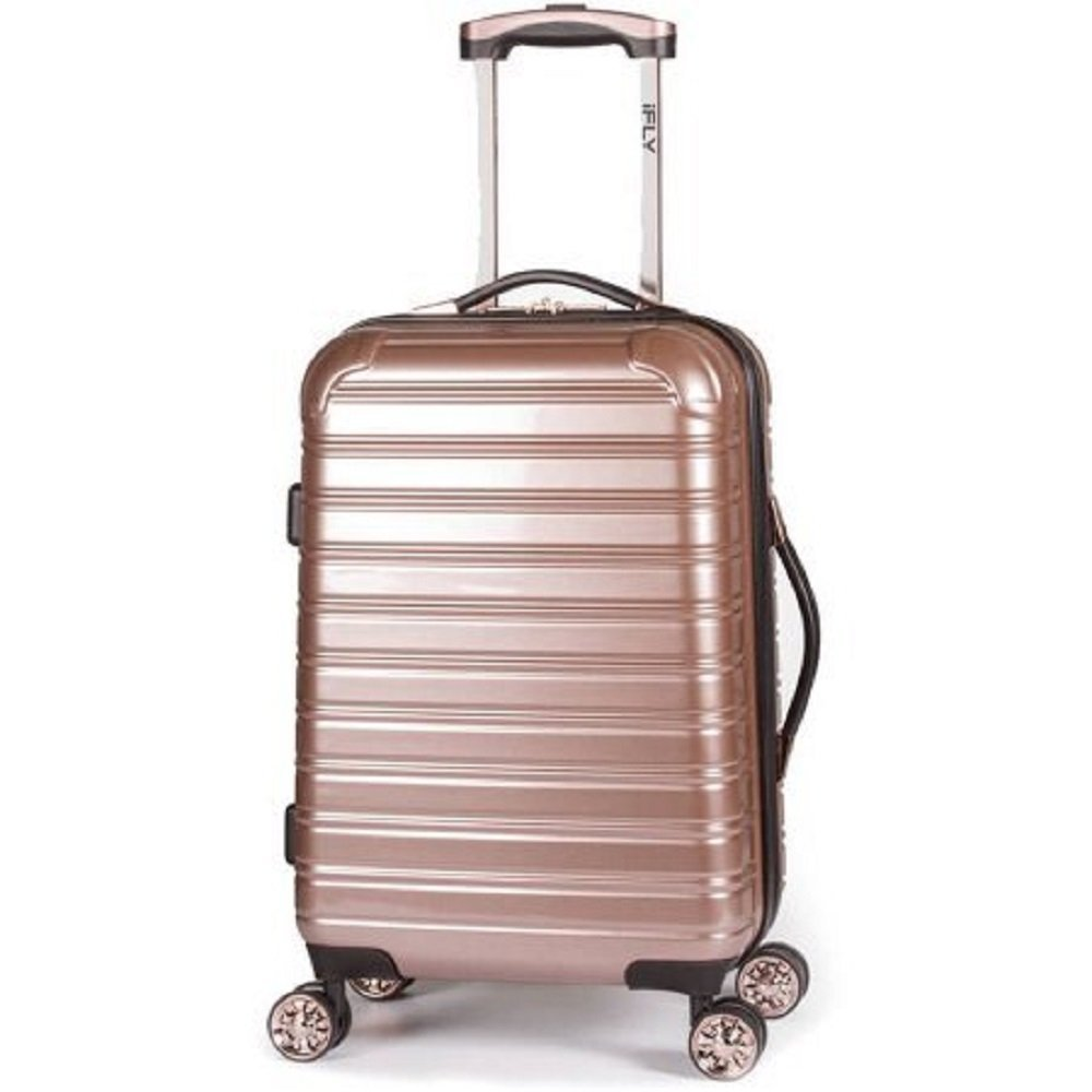 iFLY Hard Sided Luggage Fibertech,Rose Gold, Lightweight, (28'' Large)