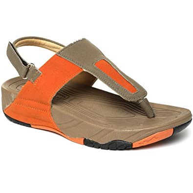 677f3765f4fe PARAGON SOLEA Plus Women s Orange   Grey Sandals  Buy Online at Low ...