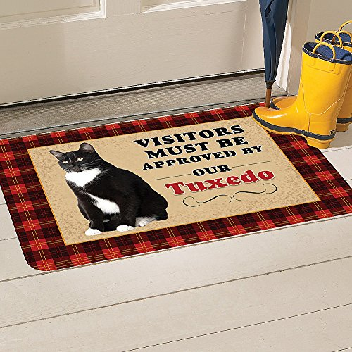 Must Be Approved By Our Cat Washable Indoor/Outdoor Doormat - Tuxedo (Tuxedo Cat Tabby)