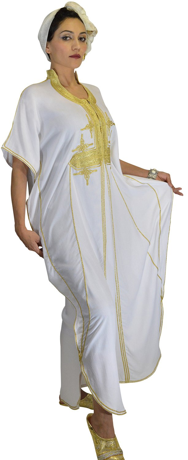 Moroccan Caftans Women Butterfly Hand Made with Gold Embroidery Long One Size White by Moroccan Caftans (Image #5)