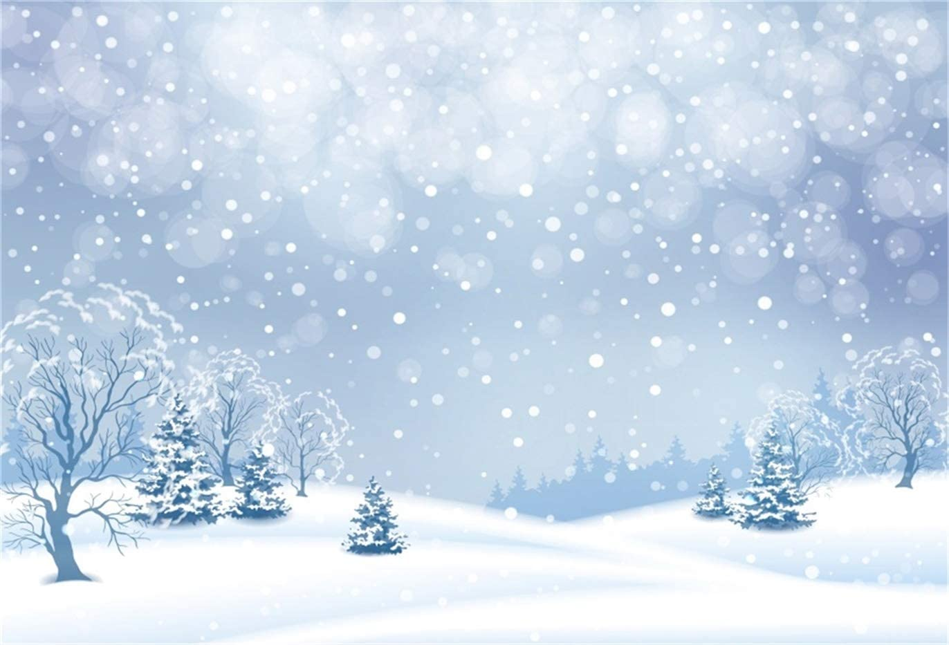 LB Winter Snow Backdrop 10x8ft Vinyl Blue Ice World Tree Backdrops for Photography Christmas Party Kids Birthday Event Portrait Photoshoot Photo Booth Studio Props