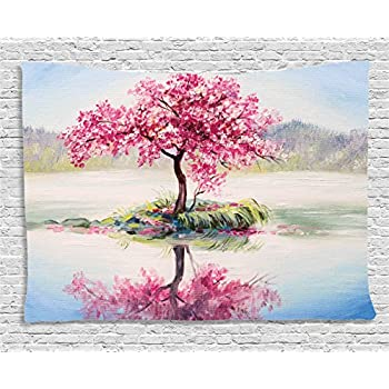 Amazon.com: Tree Tapestry Pink Floral Decor by Ambesonne, Blooming ...