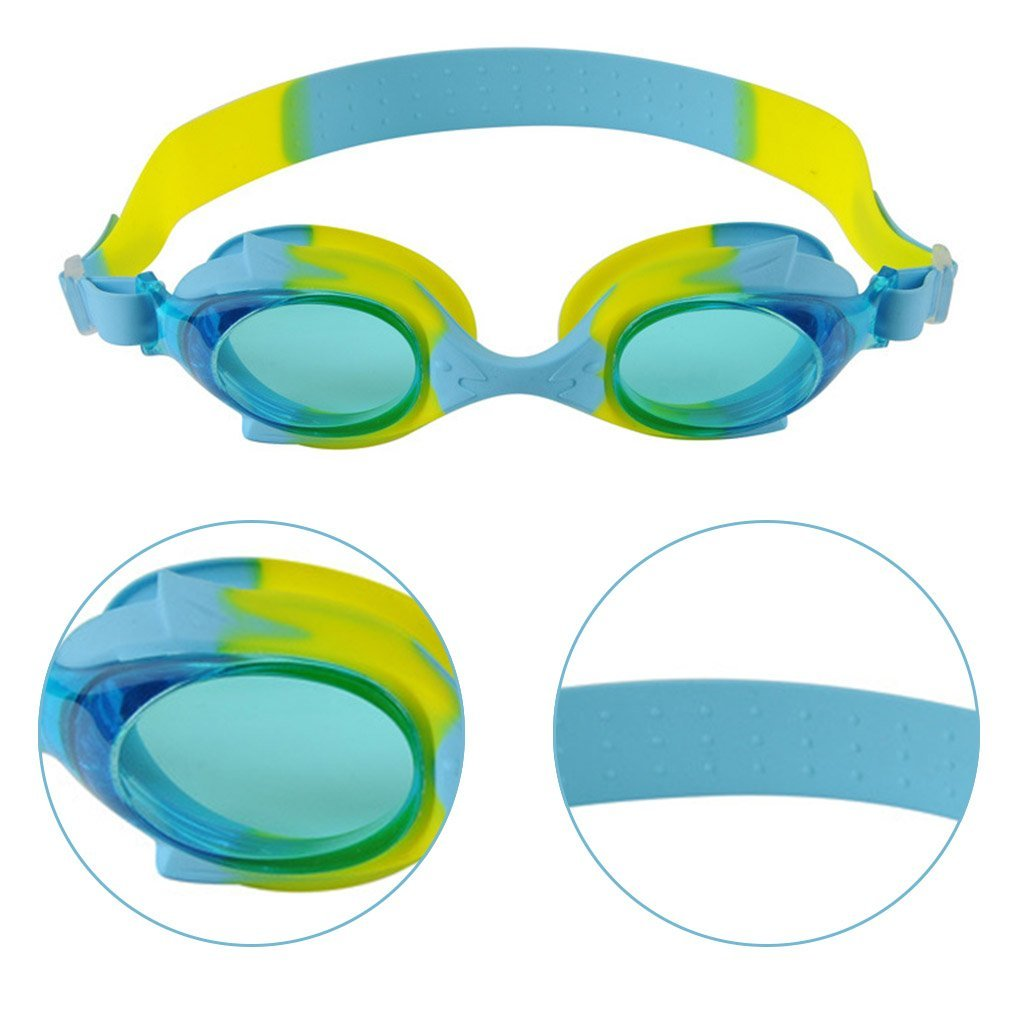 UHBGT Kids Swim Goggles No Leaking Anti Fog UV Protection for Children and Early Teens from 3 to 15 Years Old 2 Pack Swimming Glasses for Children