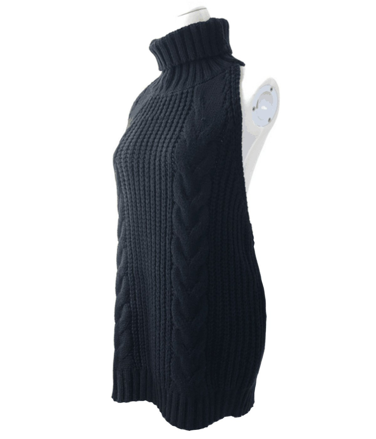 Ru Sweet Women's Sleeveless Ribbed Turtleneck Sweater Backless Casual Knit Tank Top Vest