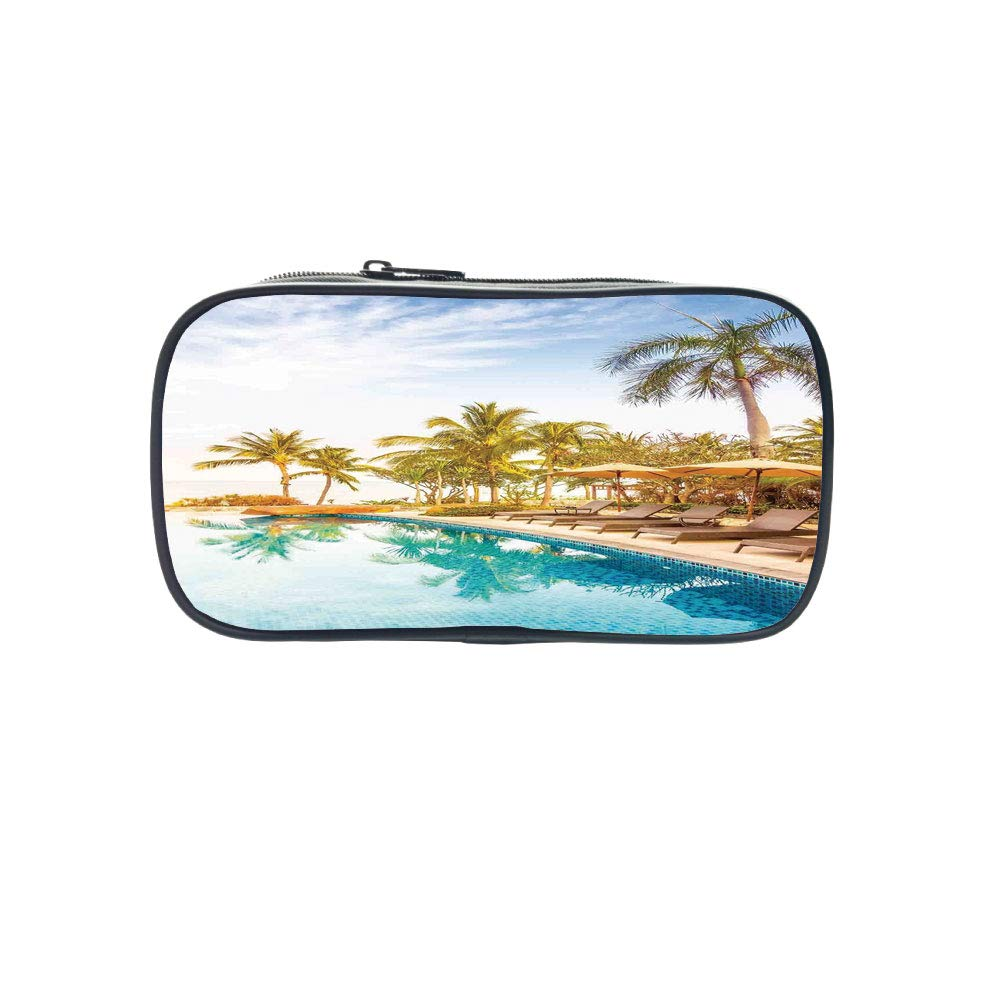 3D Print Design Pen Bag,House Decor,Aerial View of A Pool in A Health Resort Spa Hotel with Exotic Elements Sports Modern Photo,Multi,for Students,Pictures Print Design
