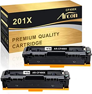 Arcon Compatible Toner Cartridge Replacement for HP M252dw CF400X CF400A 201X 201A for HP Color Laserjet Pro MFP M277dw M252dw M277c6 M252n M277n M277 Priner Toner Ink M252dw (Black, 2-Pack)
