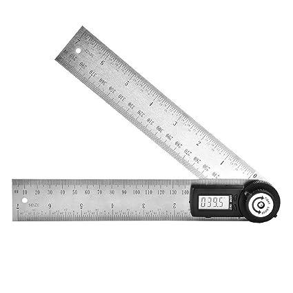 Transportador digital 200 mm de acero inoxidable Goni/ómetro electr/ónico Buscador de /ángulos Miter Gauge Regla con gran pantalla LCD