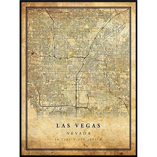 Las Vegas map Vintage Style Poster Print | Old City Artwork Prints | Antique Style Home Decor | Nevada Wall Art Gift | Antique map Wall Art 11x14 ()