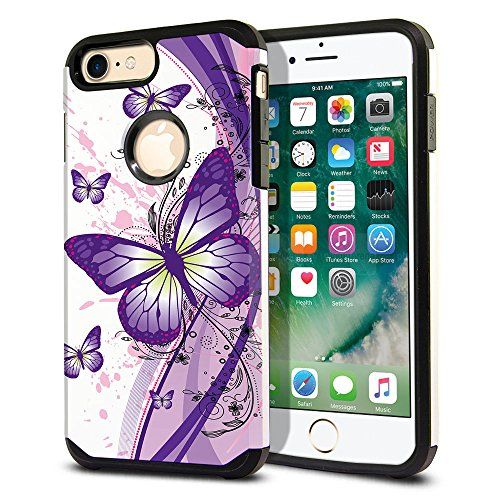 - FINCIBO Case Compatible with Apple iPhone 7 Plus/ 8 Plus, Dual Layer Hard Back Hybrid Protector Case Cover Anti Shock TPU for iPhone 7 Plus / 8 Plus (NOT FIT iPhone 7/8) - Purple Butterfly (Style 2)