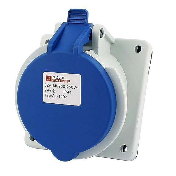 eDealMax AC 200V-250V 32A IP44 2P + E 3-terminal hembra oblicua Industrial Socket - - Amazon.com