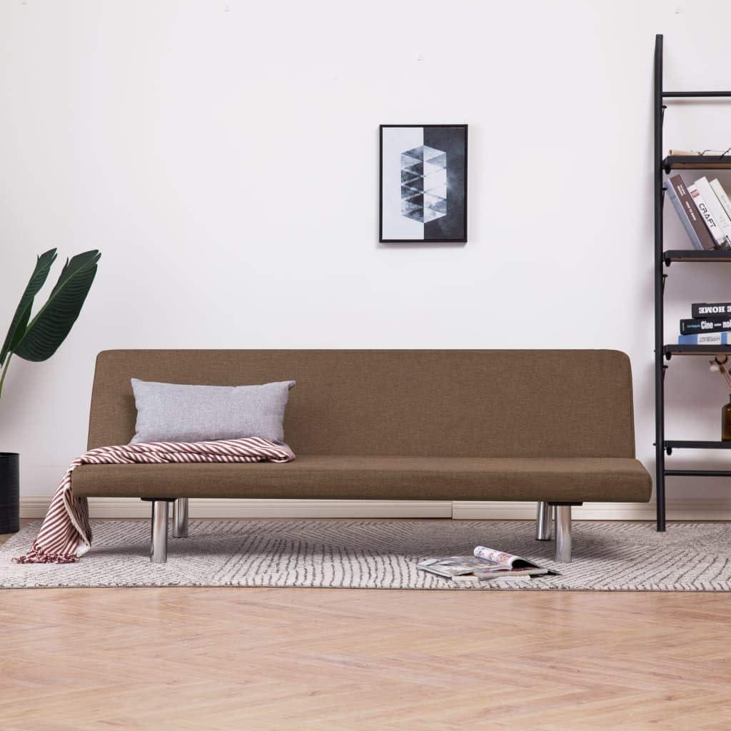 vidaXL Divano Letto con 2 Cuscini Regolabile Elegante Moderno per Ospiti Arredo Salotto Sofa Crema in Poliestere Telaio Legno Gambe Cromate