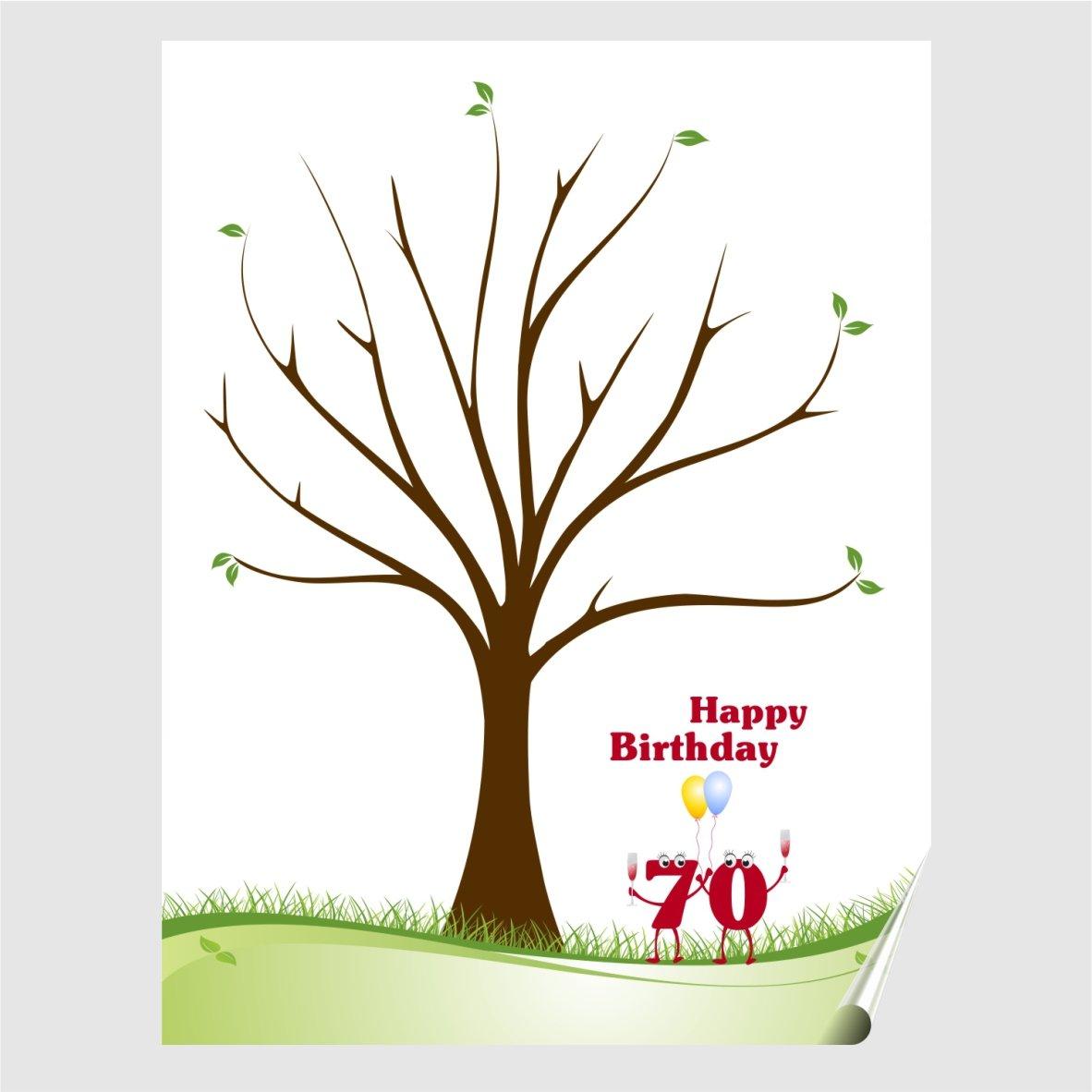 Impronte digitali albero poster compleanno e Spumante, regalo, Party gioco rotonda Compleanni Herzl-Manufaktur