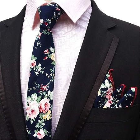 Goodvk Corbata de Hombre Corbata de algodón Estampada Floral para ...