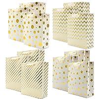 Deals on 12-Pcs Uniqooo Premium Assorted Gold Foil Metallic Gift Bags