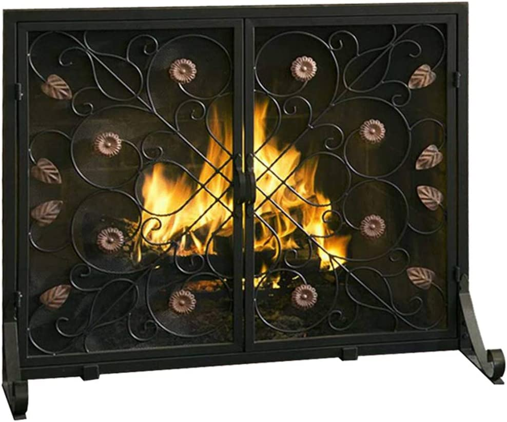 Decor Scroll Design Heavy Duty Wrought Iron Fireplace Screen with Doors 97cm Wide Black Sparks Guard and Baby Proof