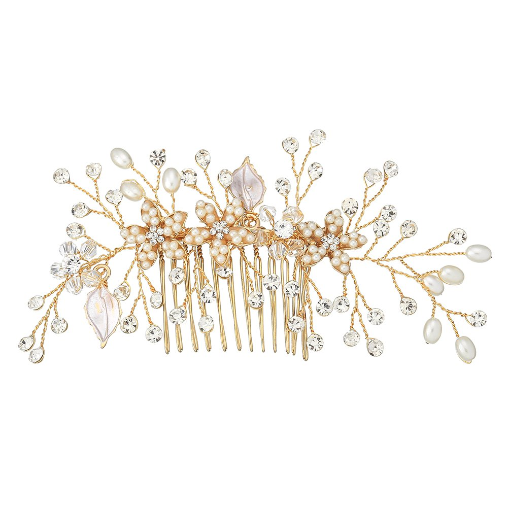 Miallo Bridal Hair Comb Headpiece Crystal Hand Enamel Matte Petals for Women and Girls(Rose Gold)