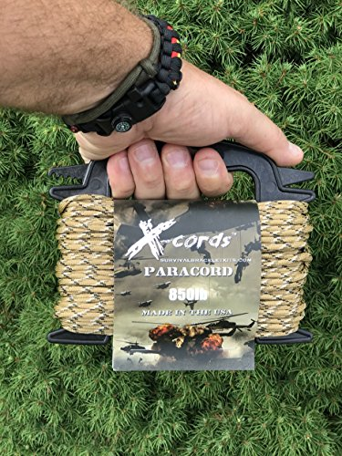 X-CORDS Paracord 850 Lb Stronger Than 550 and 750 Made by Us Government Certified Contractor (100' Desert CAMO ON Spool 850) by X-CORDS (Image #2)