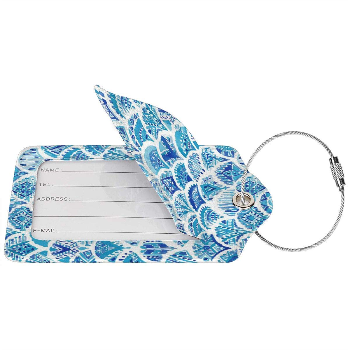 Hip Hop Tie-Dyed Hipster Colorful Luggage Tags With Full Back Privacy Cover W//Steel Loops