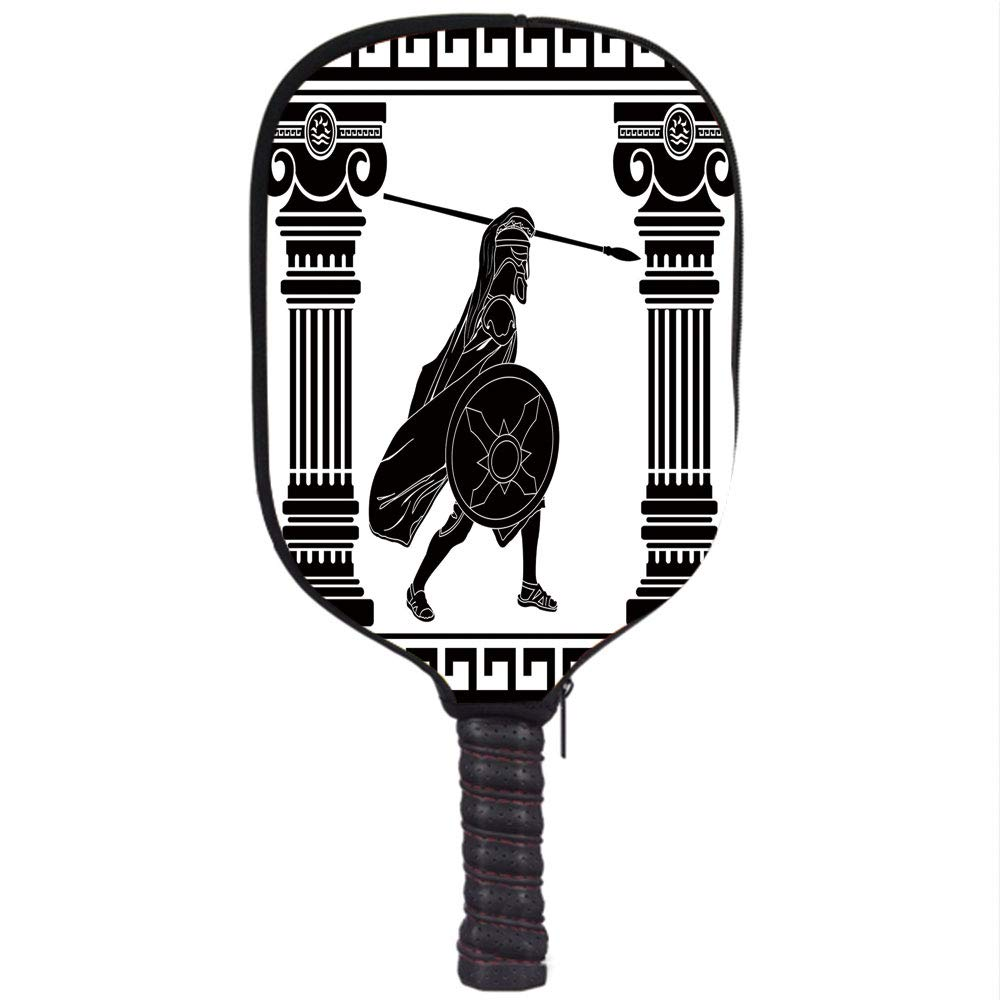 Amazon.com : iPrint Neoprene Pickleball Paddle Racket Cover Case, Toga Party, Black Warrior Silhouette Ready to Attack Between Ancient Ionic Palace Columns, ...