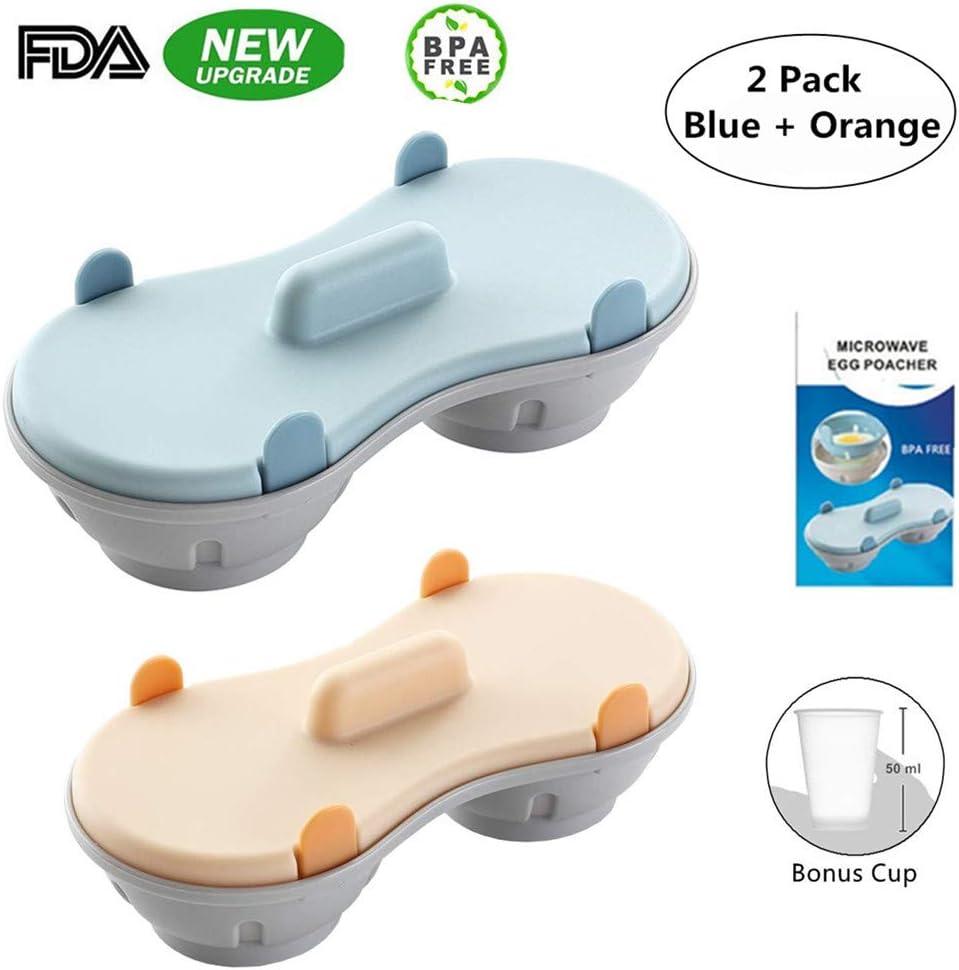 Microwave Egg Poacher, Poached Egg Cooker with Measure Cup, Dishwasher Safe BPA Free, Egg Maker Poached Egg Steamer Kitchen Gadget Home Gift (2 Pack Blue) (Blue+Orange)
