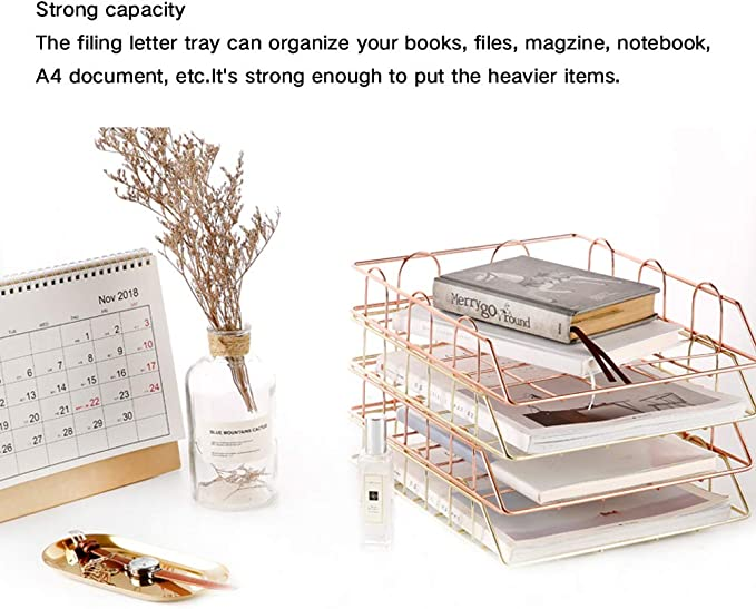 A4 Roségold Ablagefächer Briefhalter Schreibtisch Organizer Dokumentenhalter