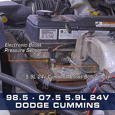 GlowShift Turbo Boost Bolt Adapter for 1998.5-2007.5 24-Valve 5.9L Dodge Ram 2500 3500 Cummins Diesel - Installs to Intake Manifold Horn: Automotive