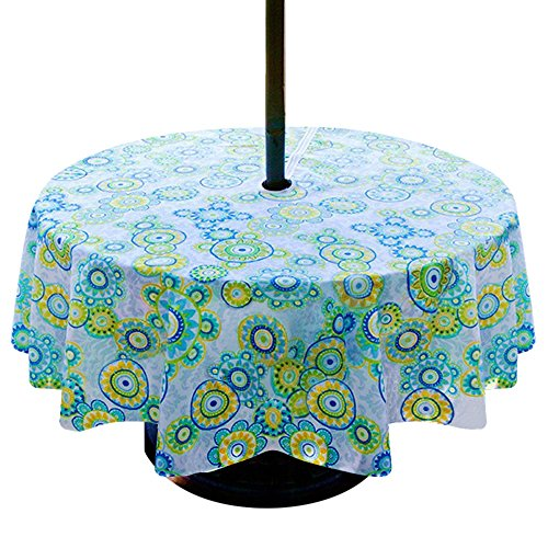 Lamberia Patio Outdoor Umbrella Tablecloth with Zipper and Umbrella Hole, Water and Stain Resistant,60 Round