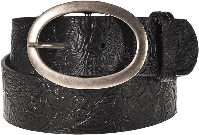 """Black Western Floral Embossed Leather Snap Buckle Belt Strap 1-1//2/"""""""