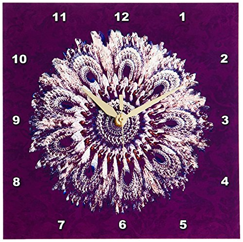 3dRose dpp_31744_1 Plum and Salmon Floral Mandala on Plum Purple Damask Background-Wall Clock, 10 By 10-Inch