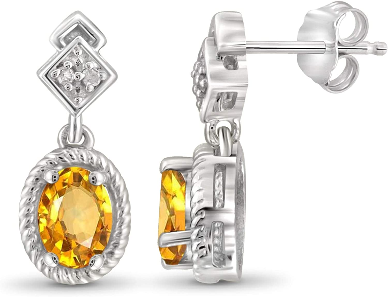 Amazon Com Jewelexcess 0 90 Carat T G W Citrine And Accent White Diamond Sterling Silver Earrings Jewelry