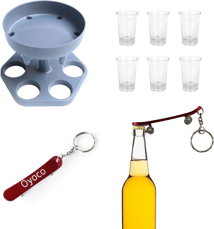6 Shot Glass Dispenser and Holder, Oyoco Dispenser for Filling Liquids with 6 Wine Glasses,Bar Shot Dispenser with Corkscrew for Beer, Wine, Cocktail, Drink (Grey)