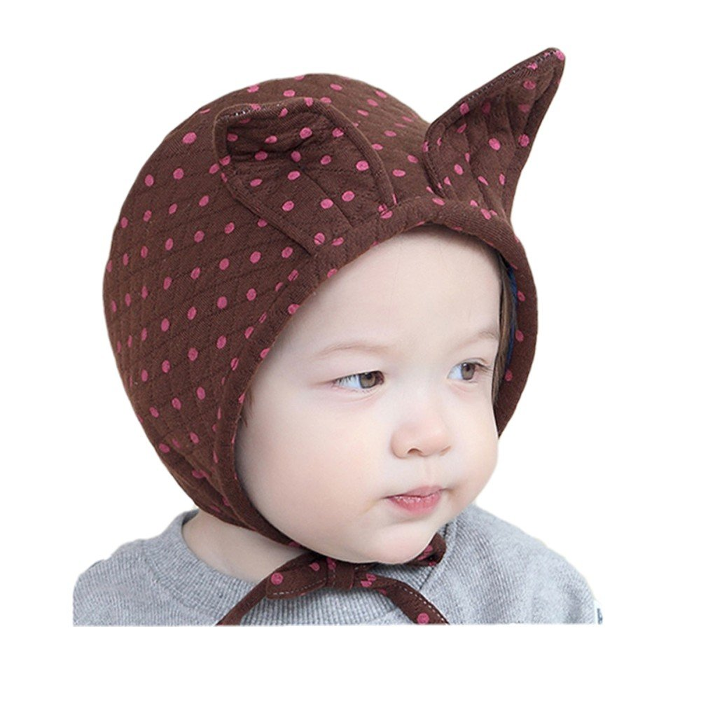 85470e3b074 Woopower Coffee Baby Autumn Winter Hat 6M-3Y Infants Dots Pattern Rabbits  Ears Hat Princess Cap  Amazon.in  Clothing   Accessories