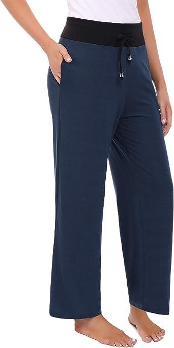 Abollria Pantalones de Algodón y Lino para Mujer Sueltos Pantalones de Pierna Ancha Verano Pantalón Anchos Pants Pantalones de Palazzo con Cordón: Amazon.es: Ropa y accesorios