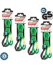4CARS Juego de 4 piezas de Calidad premium cuerda, correa de equipaje cuerda elástica con ganchos, 100 cm de largo, 8 mm de espesor, color: verde