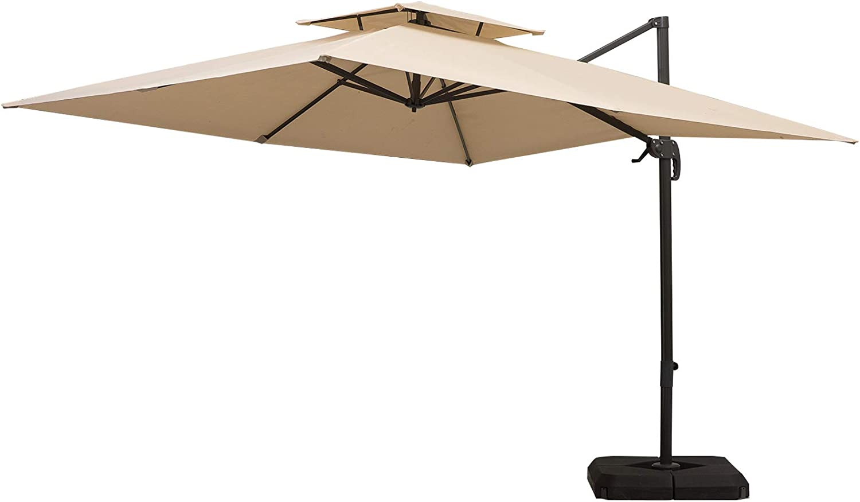 Outsunny 10ft Double Top Outdoor Patio Cantilever Umbrella