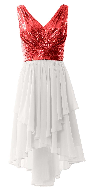 91c1a8da7e MACloth Women V Neck Sequin High Low Bridesmaid Dress Wedding Party Formal  Gown (US24w