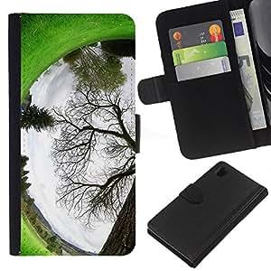 KingStore / Leather Etui en cuir / Sony Xperia Z1 L39 / Planta Naturaleza Forrest Flor 94