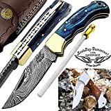 Pocket Knife Blue Wood 6.5'' Beautiful Damascus Steel Knife Brass Bloster Folding Knife Back Lock 100% Prime Quality Pocket Knives+ Sharpening Rod+Rose Wood Stainless Steel Small Pocket Knife