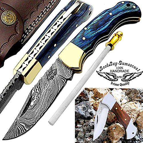Blue Wood 6.5'' Beautiful Custom Handmade Damascus Steel Brass Bloster BACK LOCK Folding Pocket Knife 100%Prime Quality+ Rose Wood Stainless Steel Mini Pocket Knifes+Sharpening Rod+Real Leather Sheath