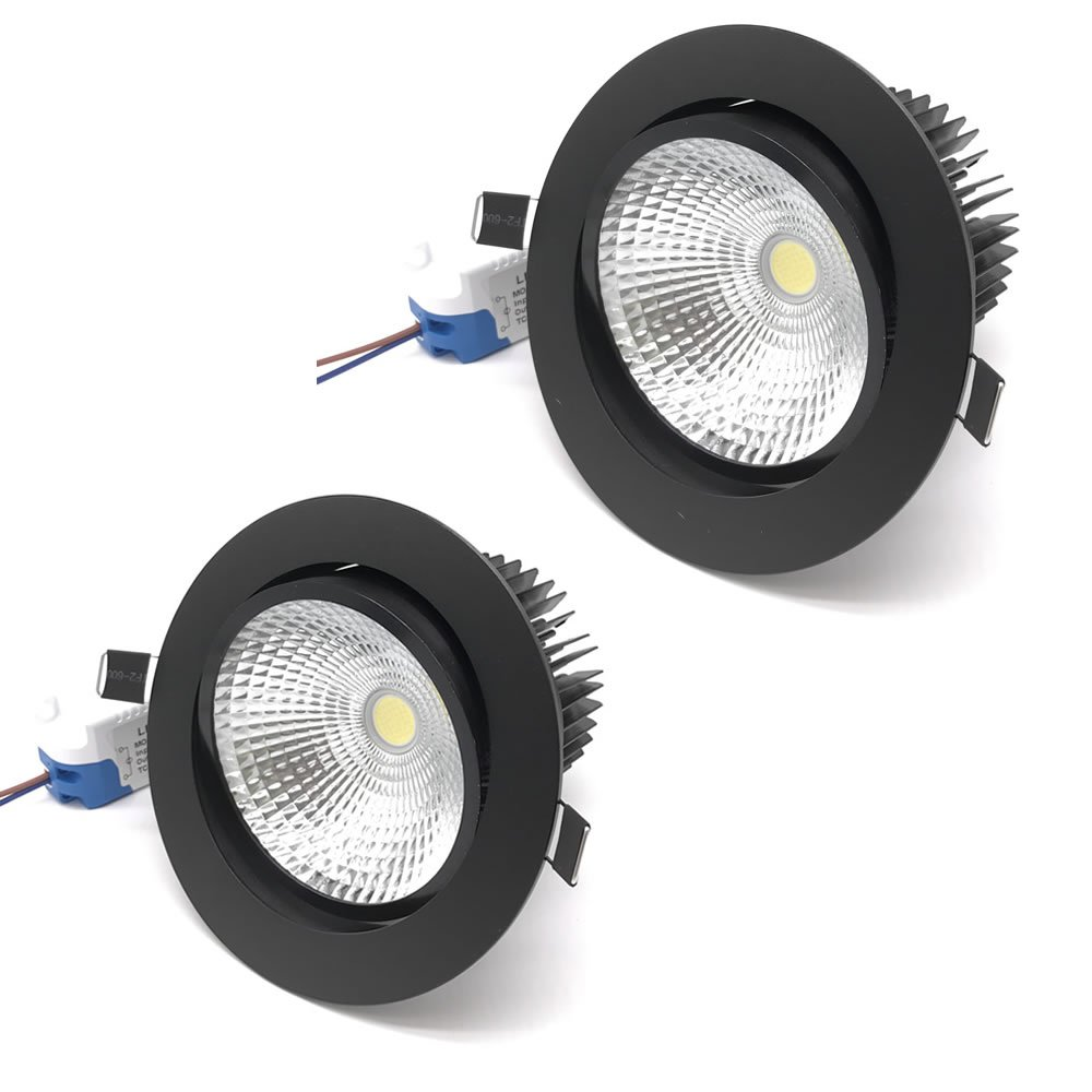 2 pack Black shell 5.5 inch 20w Led Downlight Dimmable Led Ceiling Light Recessed Light AC85-265V Adjustable Beam Angle 1800lm (Natural White)