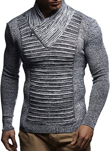 Leif Nelson Men's Knitted Pullover | Long-sleeved slim fit shirt | Basic winter sweatshirt with shawl collar for Men