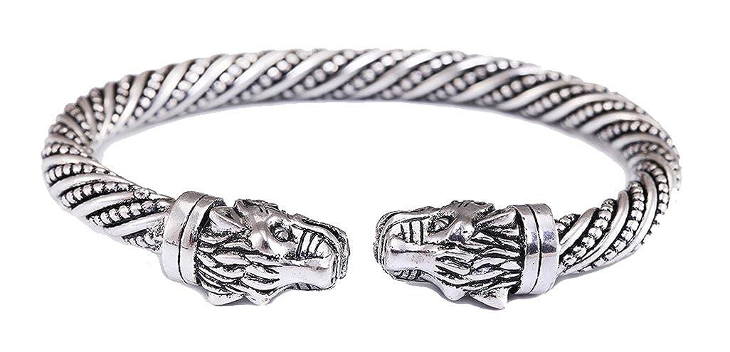 Teamer testa di leopardo con animale gioielli accessori moda vichingo braccialetto uomini Wristband del polsino bracciali per le donne Qiju B109307