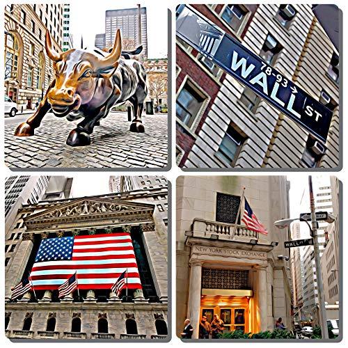 EXIT82ART - Stone Drink Coasters (Set of 4). New York City Wall Street. Tumbled Stone, Cork-backed
