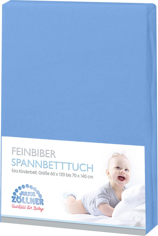 Z/öllner Spannbetttuch Feinbiber 70X140 cm blau