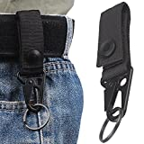 XTACER Tactical Molle Key Ring Gear Nylon Gear Keeper Pouch for Molle Bags Webbing Attachment Strap - BLACK (Pack of 2)