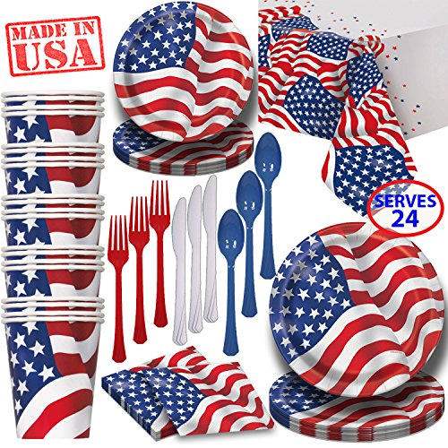 American Flag Paper Dinnerware for 24 - 2 Size Plates, Cups, Napkins , Cutlery (Spoons, Forks, Knives), and tablecovers - Full Patriotic Party Supply Pack - Patriotic Plates