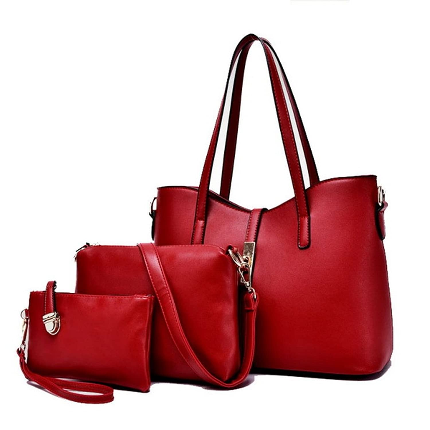 Meet Color Stylish Women Handbag Shoulder Bags Tote Purse Leather Messenger Bag Set